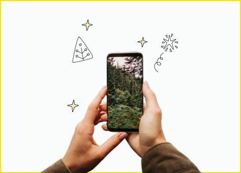 Persona sujetando un móvil donde se ve un bosque, que simboliza que la energía de nuestra tarifa coche eléctrico es verde